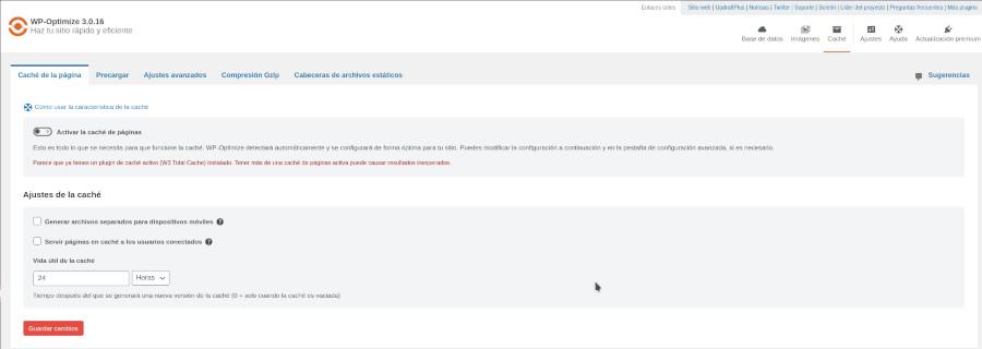 WP-Optimize Caché