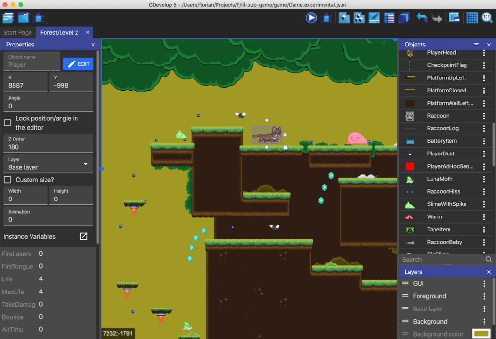 GDevelop5 engine de juegos 2D