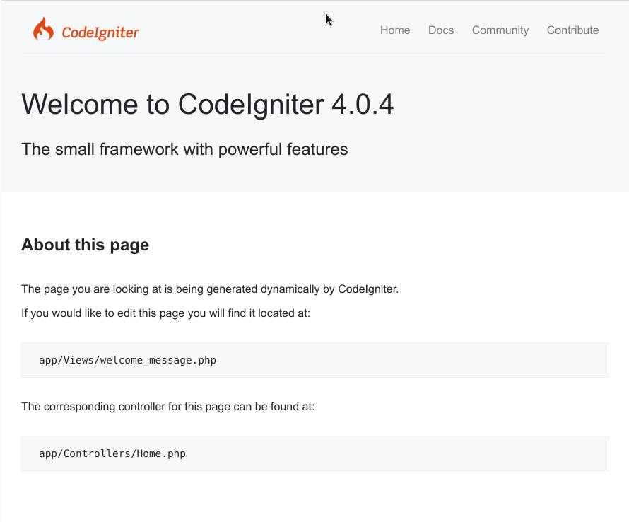 Primeros pasos CodeIgniter4